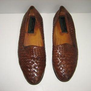 AVVENTURA Handmade Leather Woven Loafers, 10.5 M